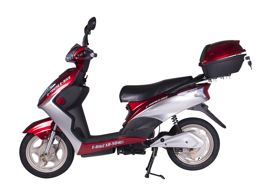 moped scooter electric bicycle e-bike burgundy red
