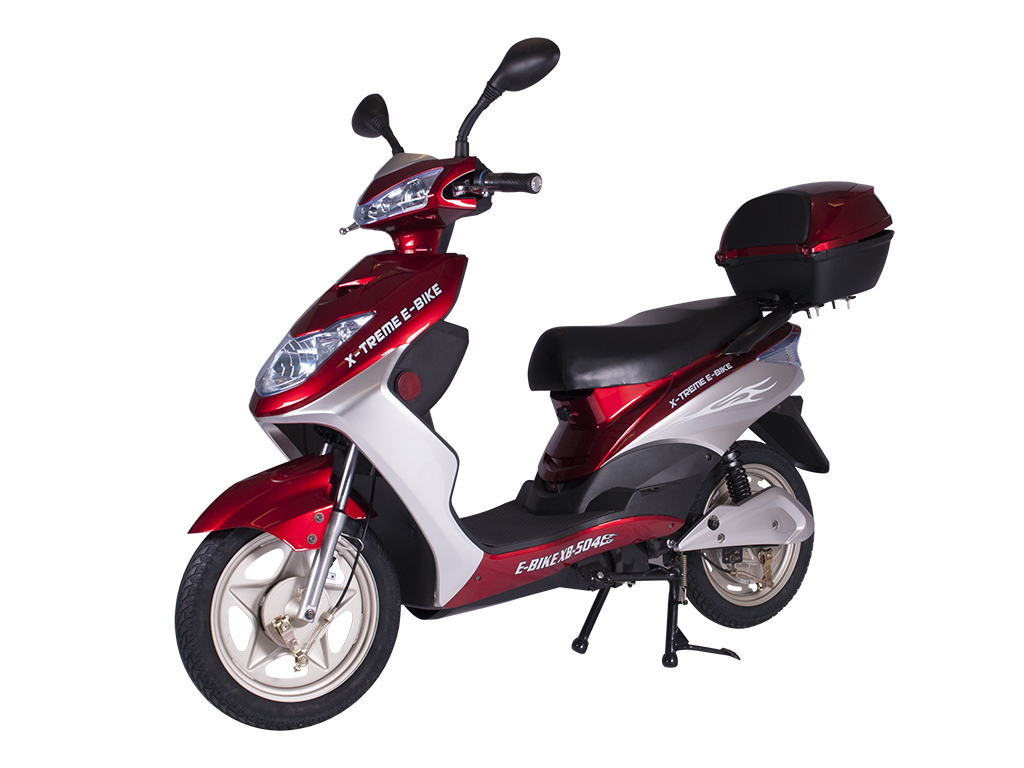 x-treme e-bike xb-504 moped bicycle red