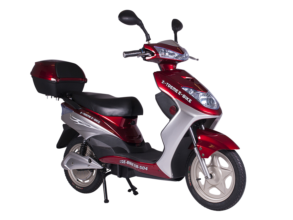 moped electric bicycle pedal assist burgundy red