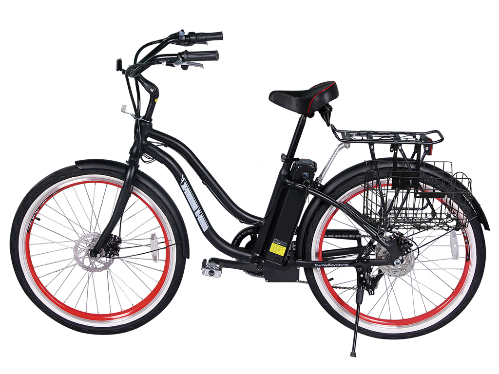 womens beach cruiser electric bicycle black