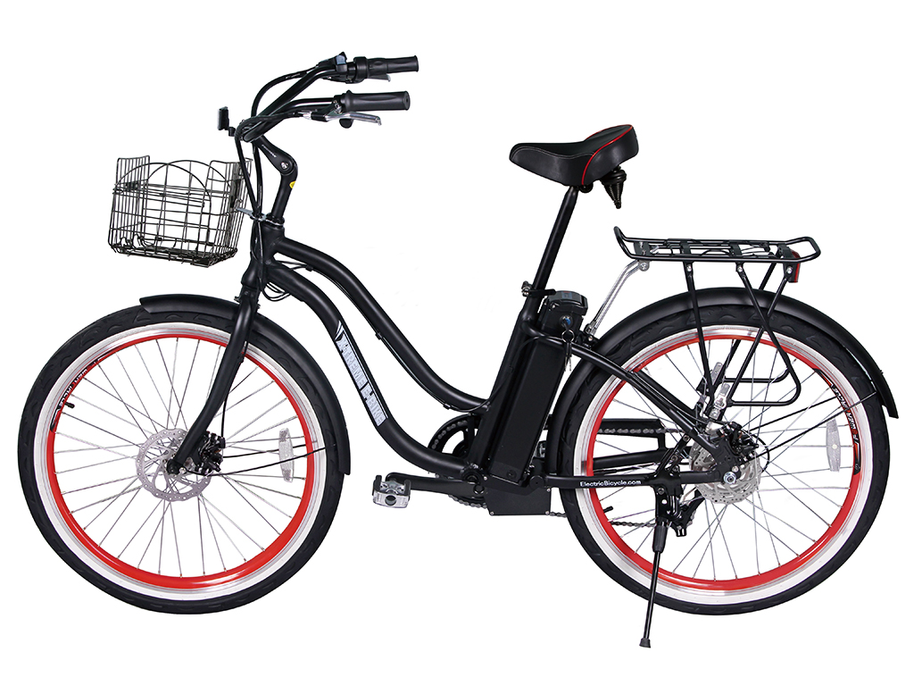 lithium powered assisted electric bicycle black