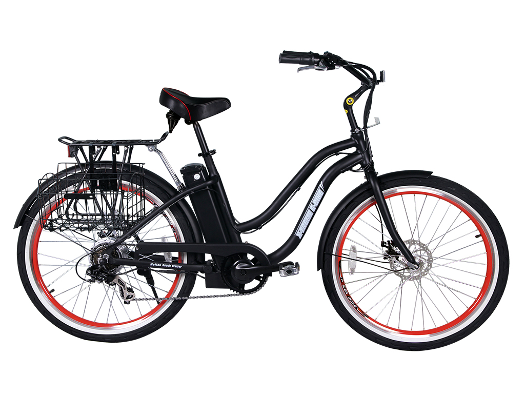 beach cruiser bicycle electric powered black