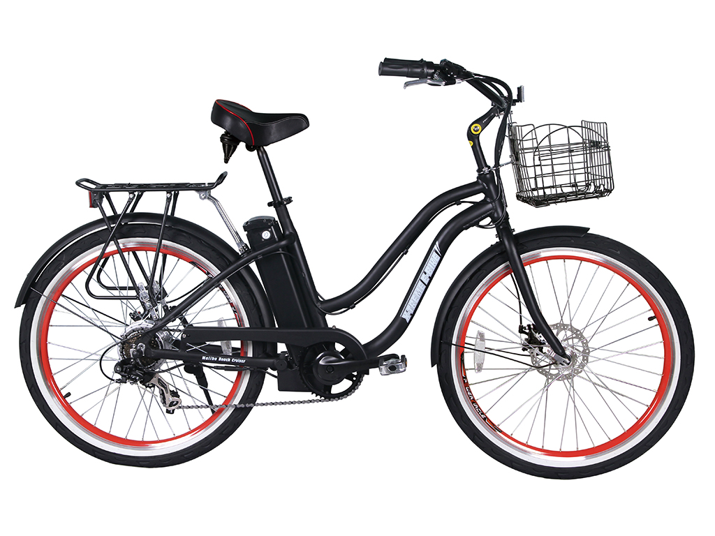 malibu beach cruiser electric bicycle black