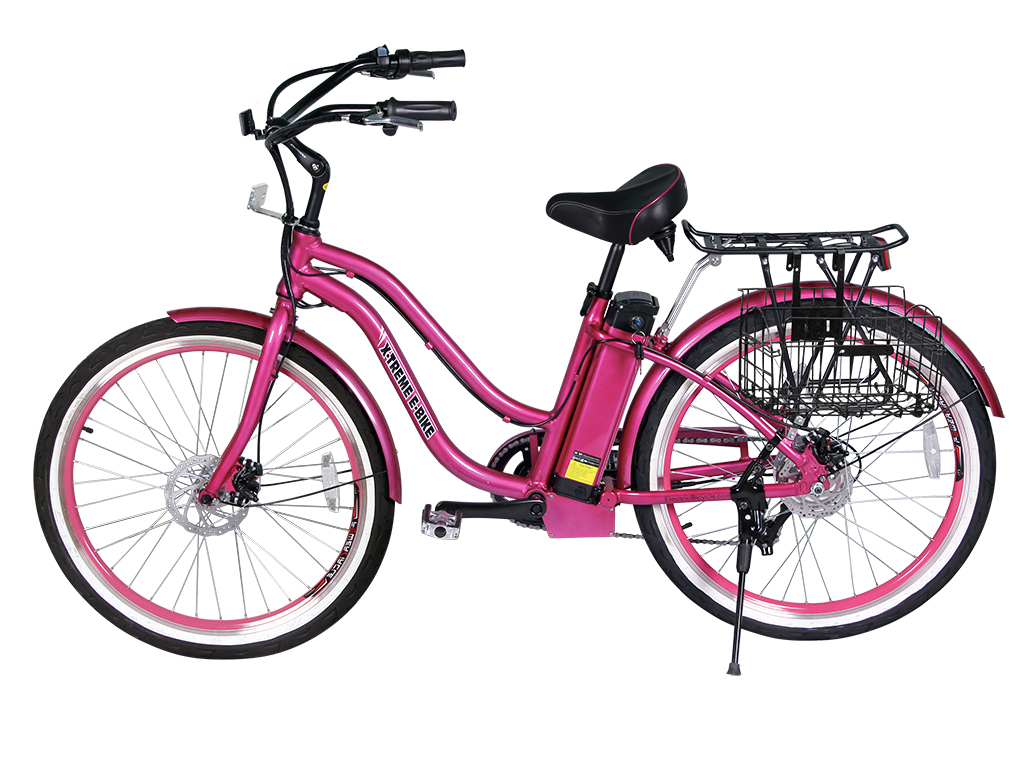 womens beach cruiser electric bicycle pink