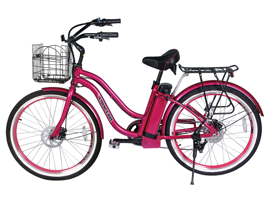lithium powered assisted electric bicycle pink