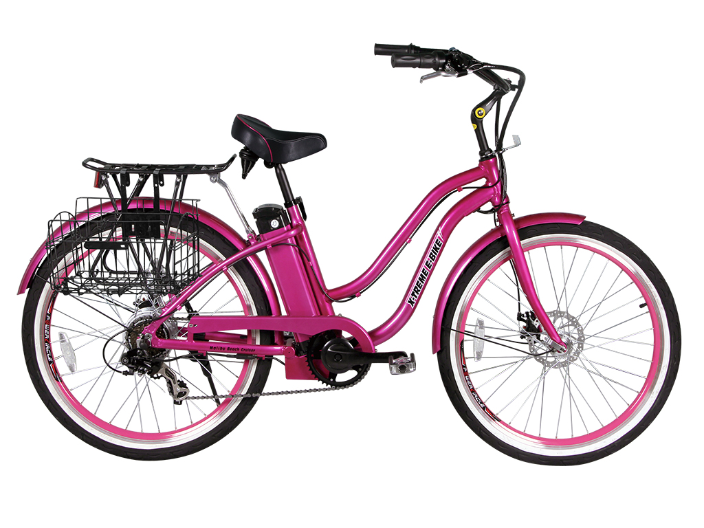 beach cruiser bicycle electric powered pink