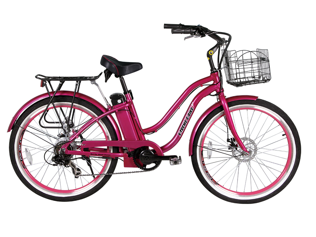 malibu beach cruiser electric bicycle pink