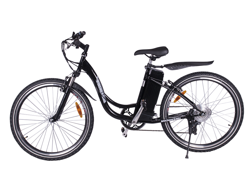 x-treme battery powered electric mountain bicycle black